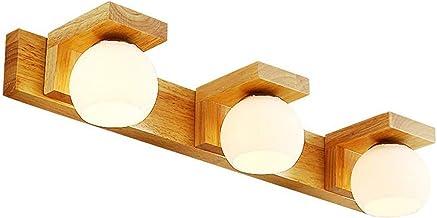 Spiegellamp LED Spiegel Koplamp Badkamer met Eiken Basis, 3 Gevlamde Make-up Spiegel Licht Wandlamp G9 Lichtbron Bolvormig...