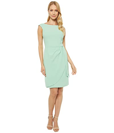 Adrianna Papell Cameron Crepe Draped Tie Dress (Spring Green) Women