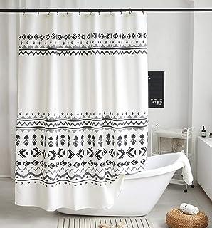 پرده دوش پارچه ای پارچه ای وفوم ست پرده دوش پارچه ای هندسی سیاه و سفید با قلاب دکور حمام شیک Boho ، ضد آب سنگین ، 72x72