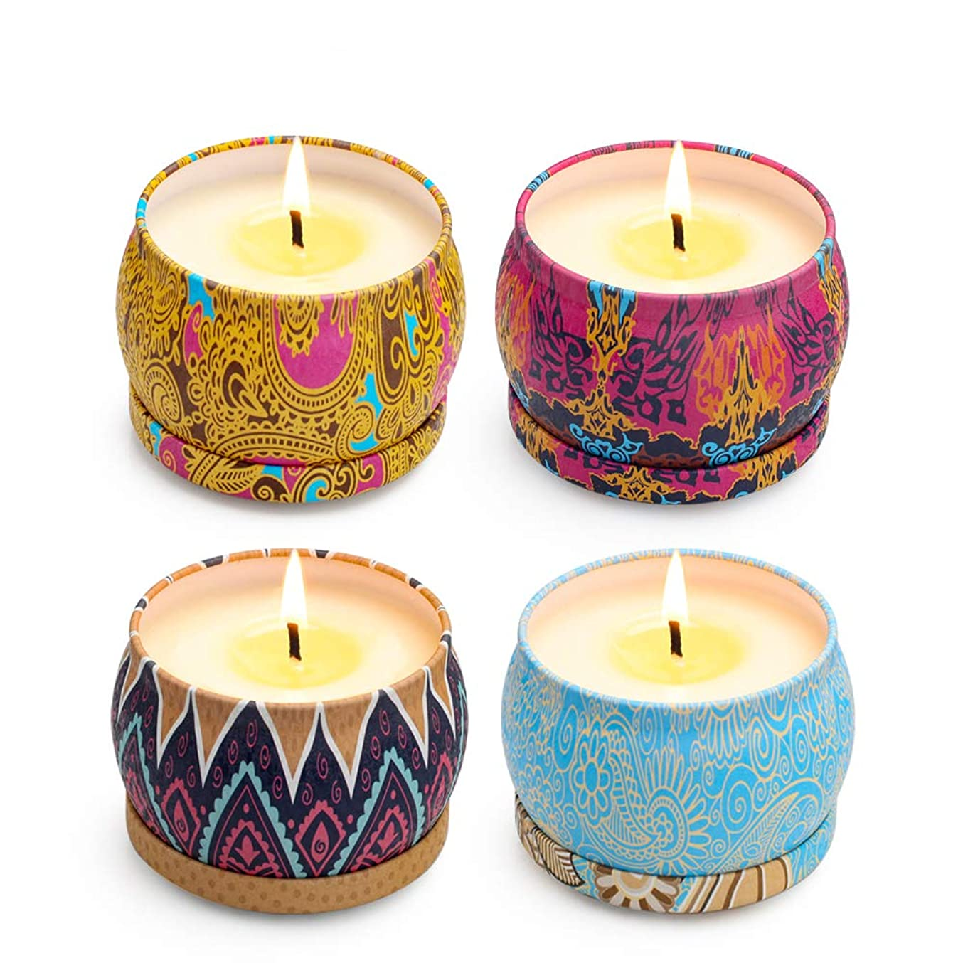 Scented Candles Set, Natural Soy Wax Fragrance Candle Boxed Gift Set Travel Tin Candles, Lemon, Lavender, Mediterranean Fig, and Spring for Aromatherapy, Stress Relief - 4 Pack (4.4oz each)