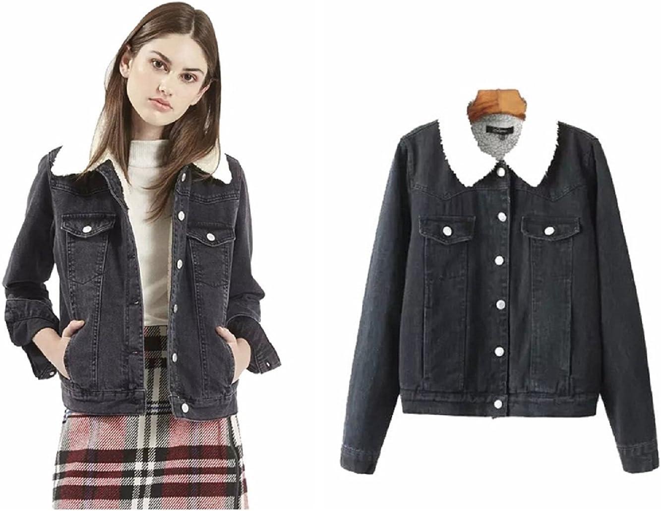 Women's Faux Fleece Denim Long Sleeved Jacket Coat Blue&blakc S M L