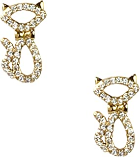 Kate Spade Jazz Things Up Pave Cat Stud Earrings, Clear