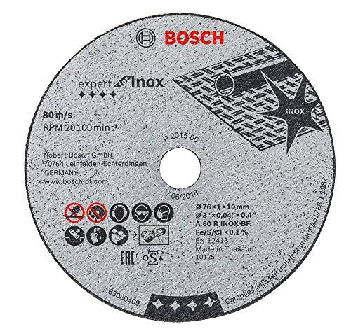 Bosch Professional 2608601520 Disco abrasivo de Corte Recto 5 uds (Expert for INOX, Accesorios para amoladoras con inserción de 10mm)