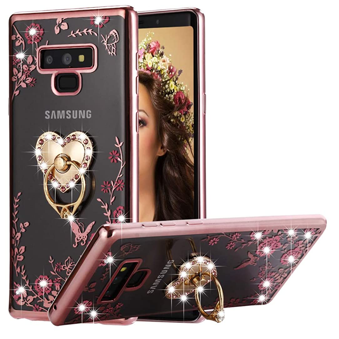 Galaxy Note 9 Case Pink Ring, Miniko(TM) Soft Slim Bling Rhinestone Floral Crystal TPU Plating Rubber Case Cover with Detachable 360 Diamond Finger Ring Holder Stand for Galaxy Note 9