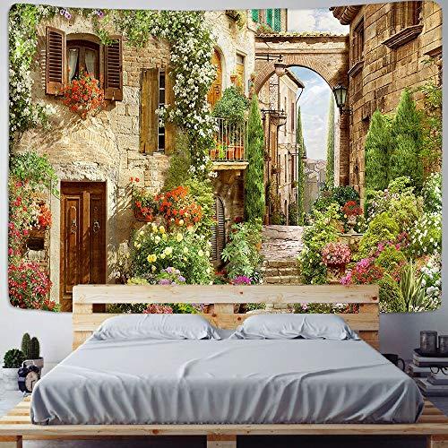 KHKJ Tapisserie Schloss Gebäude im europäischen Stil dekorative Wanddecke Dekoration Wandbehang Schlafzimmer Schlafzimmer Tapisserie A10 200x150cm