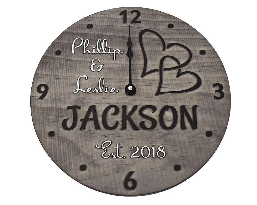11 Max 84% OFF Inch Handmade Max 46% OFF Wooden Wall Clock Couple for Personalized - One