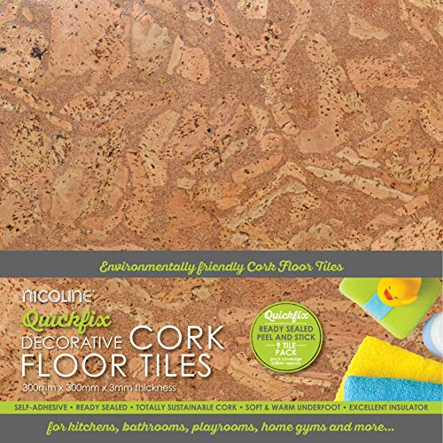Dekorative, selbstklebende Kork-Bodenfliesen, 3 mm, 0,80 m²