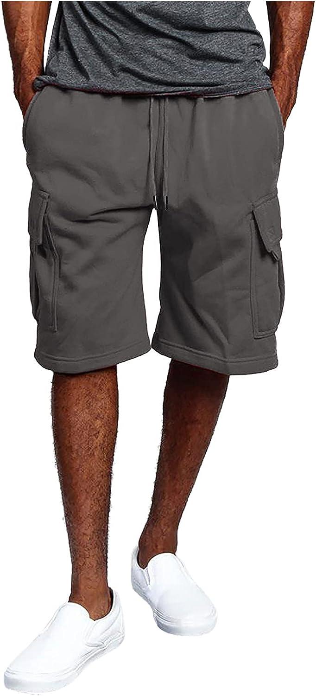 Toamen Mens Cargo Short Casual Drawstring Summer Beach Shorts with Elastic Waist and Pockets Straight Fit Short Pants