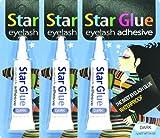 3packs of Star Eyelash Glue for Strip Lashes (Dark) 7g (1/4oz)