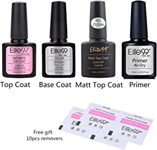 Elite99 Base Coat y Top Coat Semipermanentes, 2pcs Kit Esmaltes Semipermanentes de gel UV LED 10ML