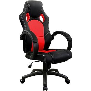 DEUBA Fauteuil Chaise de Bureau Ergonomique Noir Rouge rembourée inclinable et réglable Ordinateur PC Gamer siège