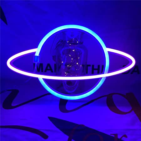 QiaoFei Led Planet Neon Light Decorative Signs Wall Decor, Battery or USB Operated Lamp Planet Neon Signs for Baby Kids Friends Birthday Gifts (Blue & pink)