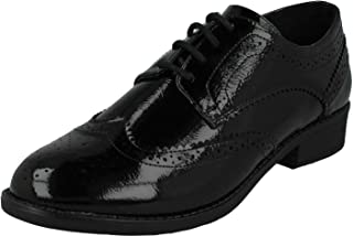 Spot On Ladies/Womens Patent Brogue Shoes