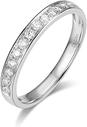 Hafeez Center 14K Solid Gold Micro Pave Round Diamond Dainty Eternity Wedding Band Ring for Women and Girls