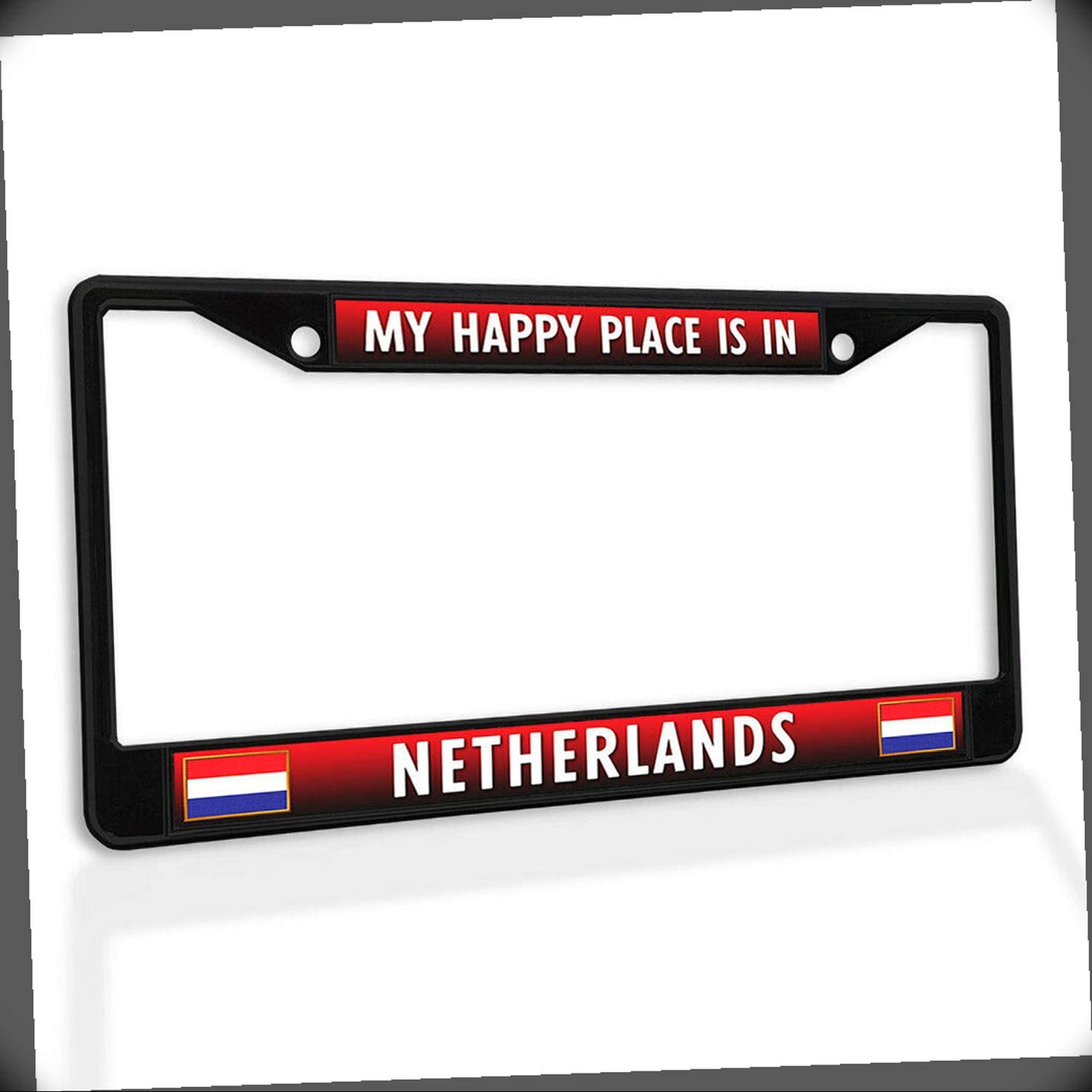 New Low price Sales of SALE items from new works License Plate Frame My Happy in Metal C Netherlands Place is