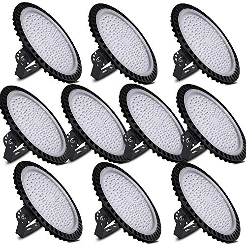 UFO LED High Bay Light, 6000-6500K, IP54, Waterproof Dust Proof, Warehouse LED Lights High Bay Lighting for Garage, Factory, Gymnasium, Basement, Parking(Newest Design )… (500W-10pack)