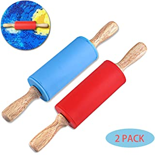 5D Diamond Painting Tool Silicone Roller, Accessories for DIY Rhinestone Embroidery by Number Kit Full Drill Sticking Tightly for Adults Kids (2 Pack)