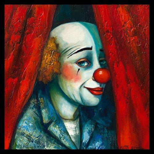 Bild mit Rahmen Betty Wittwe - Derrire le rideau I - Digitaldruck - Holz schwarz, 40 x 40cm - Premiumqualität - Clown, People&Eros, Vorhang, Wohnzimmer, Schlafzimmer, Kinderzimmer, Zirkus, Kin.. - MADE IN GERMANY - ART-GALERIE-SHOPde