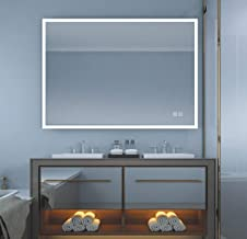LStripM Bathroom LED Lighting Mirror 32x24 Inch with Anti-Fog Function Wall Mounted Adjustable White/Warm Light Thickness 5MM Dimmable Touch Button Vertical/Horizontal Makeup Vanity Mirror Over Cos