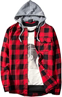 SoeHir Men's Autumn Casual Tops Plaid Printing Long Sleeve Pullovers Athletic Casual Top Hooded Blouse