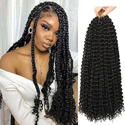 Passion Twist Hair Water Wave Crochet Hair For Black Women 18 Inch 6 Packs Passion Twists Braiding Hair Long Bohemian Twist Hair(18inch, #1B, Economy Pack)