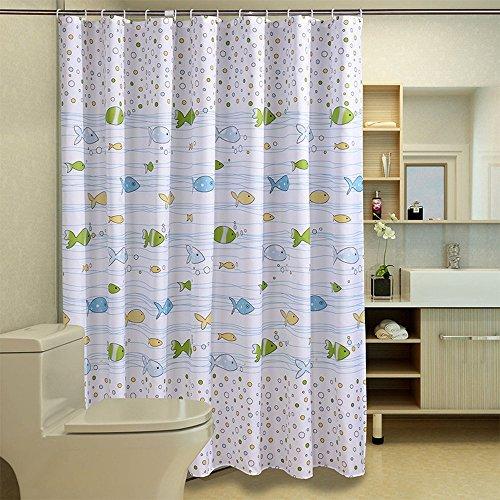 Duschvorhang Anti-Schimmel und Wasserdicht Fisch Badezimmer Duschvorhang mit verstärktem Saum, mit Haken 120/150/180/200 x 200cm