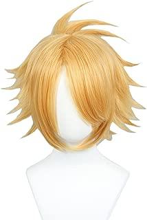 Linfairy Anime Cosplay Wig Short Halloween Costume Hero Wig (gloden blonde)