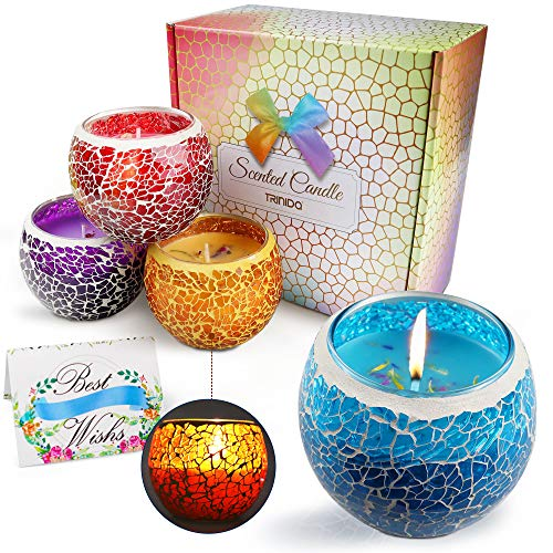 Duftkerze Geschenkset, Aroma Kerzen 4er Set Scented Candle mit Blumen Blüten Natürliches Sojawachs Kerze im Glas Vanille Lavendel Zitrone Rosmarin