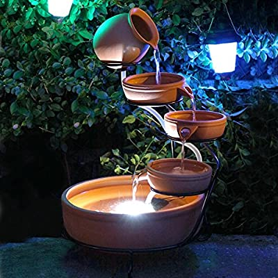 Small  Solar Powered Water Feature Terracotta Jug & Bowls Cascade with LED Light and Battery PC602