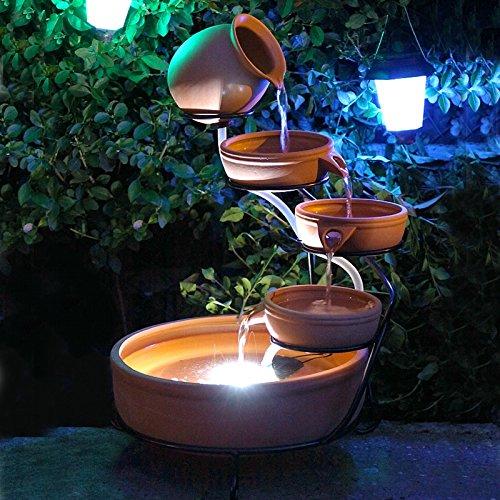 Solar Water Feature Terracotta Cascade Water Feature With Solar LED Lights
