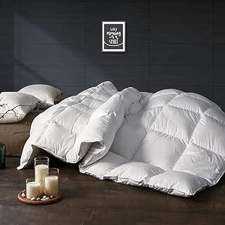 APSMILE All Season Goose Down Comforter -1200TC Ultra-Soft Egyptian Cotton, 750 Fill Power Fluffy Medium Warmth Duvet Insert (Full/Queen, Solid White)