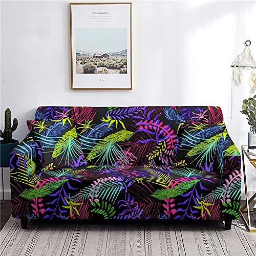 Meiju Fundas de Sofá Elasticas de 1 2 3 4 Plazas Universal Decorativas Funda Cubre Sofas Ajustables, Antideslizante Protector Cubierta de Muebles (Hojas de Colores,1 Plaza - 90-140cm)