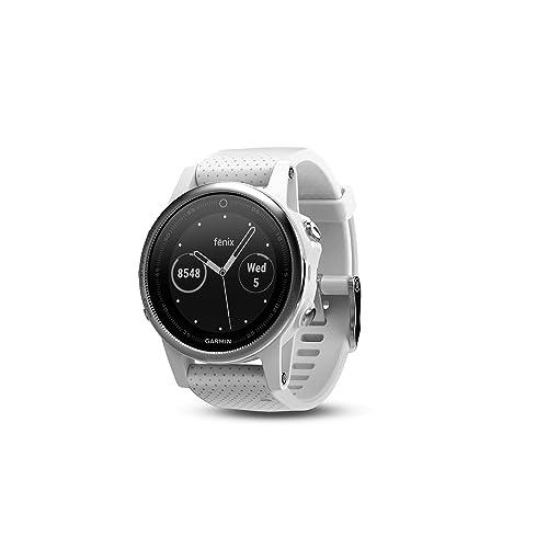 Garmin Fēnix 5S - Montre GPS Multisports Outdoor - Silver avec Bracelet Blanc Carrara