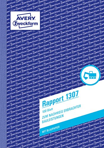 AVERY Zweckform 1307 Rapport (A5, mit 2 Blatt Blaupapier, von Rechtsexperten geprüft, für Deutschland und Österreich zur Dokumentation von Arbeitsleistung und Materialverbrauch, 100 Blatt) weiß