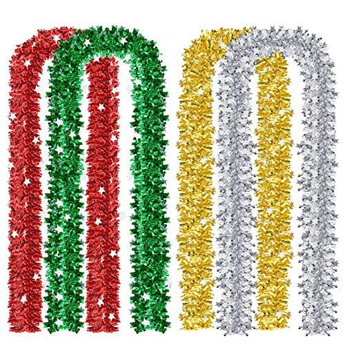 MELLIEX 4 Stück x 2m Weihnachten Lametta Girlande Metallisch Lametta Baum Dekoration für Weihnachten Hochzeit Geburtstag Party, 4 Farbe