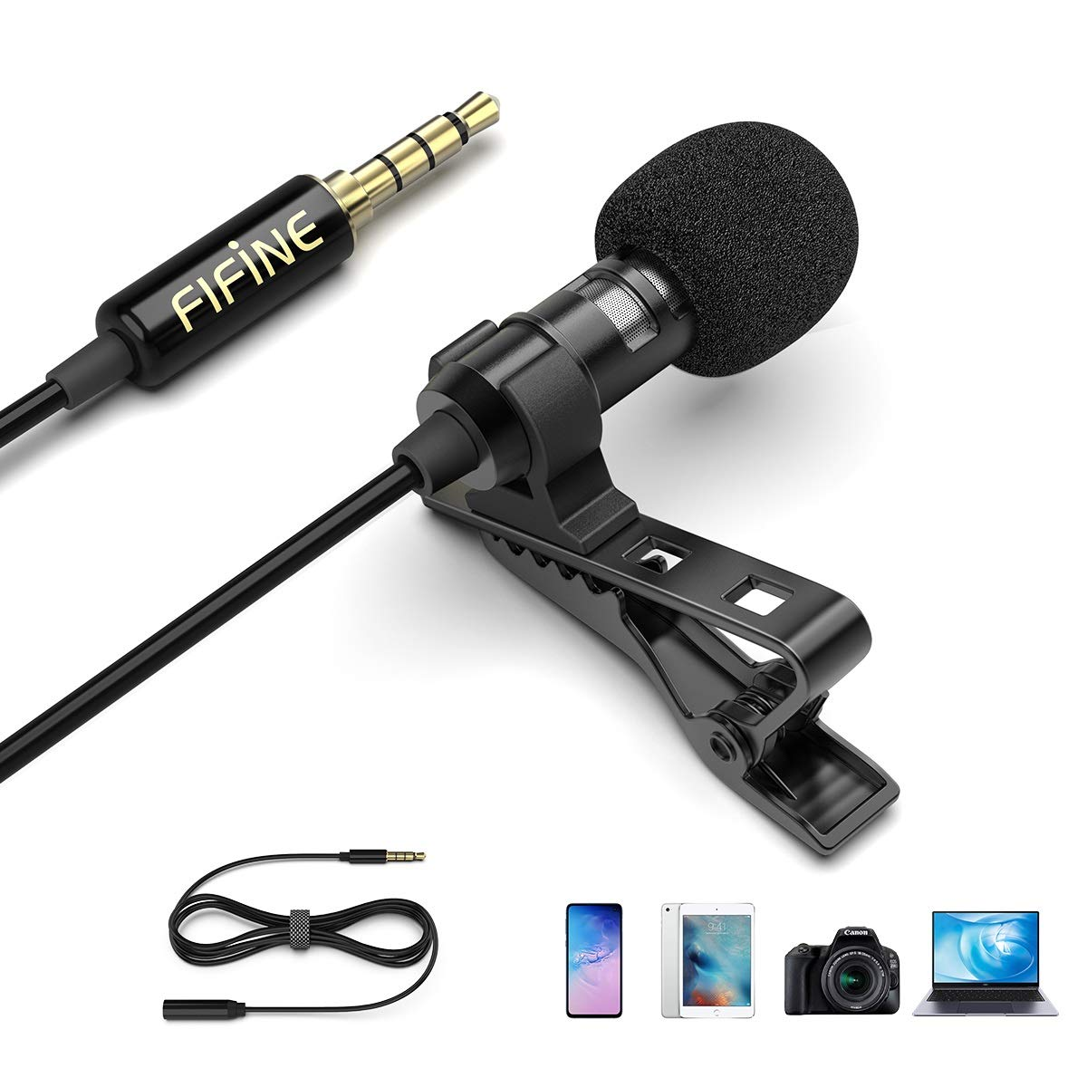 Amazon Com Fifine Lavalier Lapel Microphone 3 5mm Clip On Mic For Youtube Video Recording Vlog Mini External Mic For Iphone Ipad Android Cell Phone Dslr Camera Pc Laptop Mac Computer Noise Reduction C1 Musical