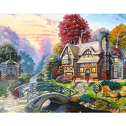5D DIY diamante pintura paisaje casa jardín bordado de diamantes conjunto de mosaico de diamantes imagen Mural Natural A8 50x70cm