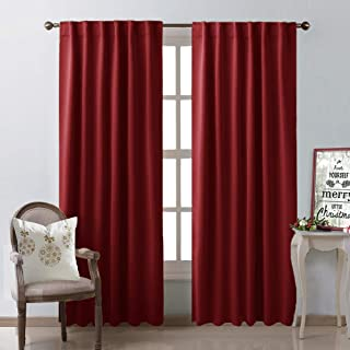NICETOWN Burgundy Blackout Window Draperies Curtains - (Burgundy Red Color) 52 inches x 84 inches, Double Panels, Christmas Decoration Thermal Insulated Blackout Drapes/Panels