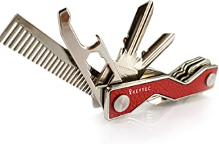 Compact Key Organizer Smart Key Holder by KEYTEC|Leather Silver Rim|Multitool Includes Bottle Opener Comb S-Clip Hook Expansion Accessory|Enhanced Frame