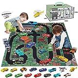 BeebeeRun 17 Pcs Métal Véhicules Jouet Enfants,Jouet Garcon 2 Ans 3 Ans,Jouet pour Enfant de Mini Voitures avec boîte de Rangement