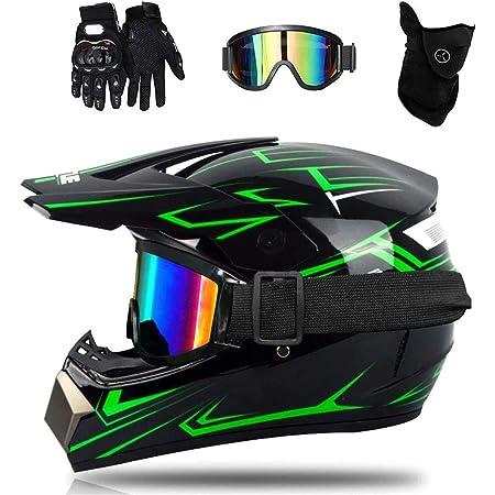 Wansheng Motorrad Motocross Motorradhelme Windschutzmaske Handschuhe Schutzbrille D O T Standard Kinder Quad Bike Atv Go Kart Helm Fox S M L Xl Fox Green S55 56cm Sport Freizeit