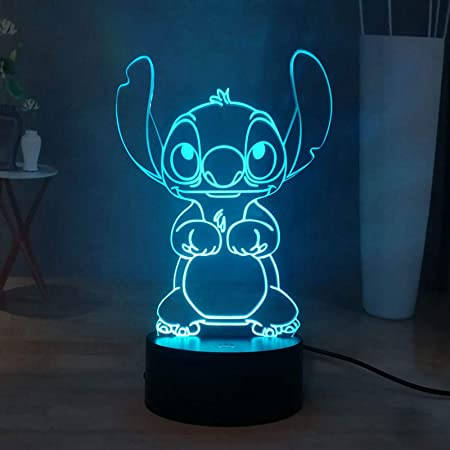 Stitch LED Night Light, Lilo & Stitch 16 couleurs 3D Visual Desk Lamp Decor, Touch Remote Kids Night Lamp USB Powered, Teens New Year Christmas Light