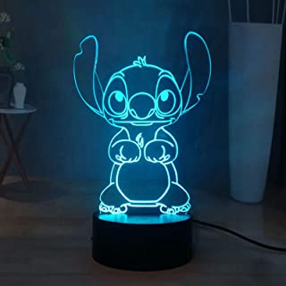 Stitch LED Night Light, Lilo & Stitch 16 couleurs 3D Visual Desk Lamp Decor, Touch Remote Kids Night Lamp USB Powered, Tee...