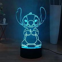 Stitch Lilo & Stitch Led-nachtlampje, 16 kleuren, 3D visueel bureaulamp, touch-afstandsbediening, kindernachtlamp, USB-voe...