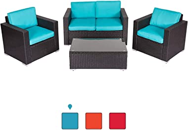 Peach Tree 4 PCs Outdoor Wicker Rattan Sofa Set Armrest Sofa with Coffee Table Patio Furniture Sectional Set with All-Weather