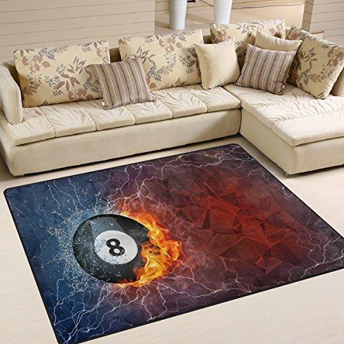 Domoko Billard Ball auf Feuer und Wasser Abstrakt Bereich Teppich Teppiche Matte f¨¹r Wohnzimmer Schlafzimmer, Textil, Mehrfarbig, 203cm x 147.3cm(7 x 5 feet)