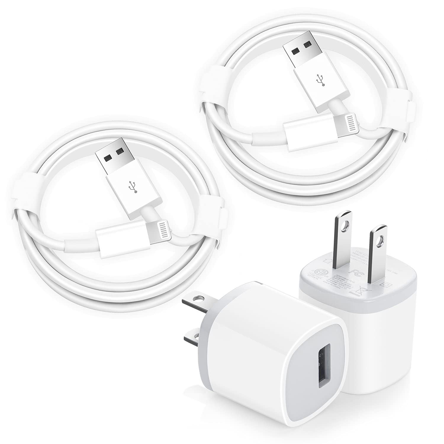 iPhone Charger, [Apple MFi Certified] 6FT 2Pack USB Fast Charger Charging Cube Durable Compact Power Adapter Travel Plug & Lightning Cable Cord Compatible iPhone 12/12 Mini/12 Pro/Pro Max/11/Pro/Xs/XR