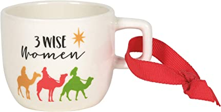Enesco Our Name is Mud 3 Wise Women Miniature Mug Hanging Ornament, 2 Inch, Multicolor