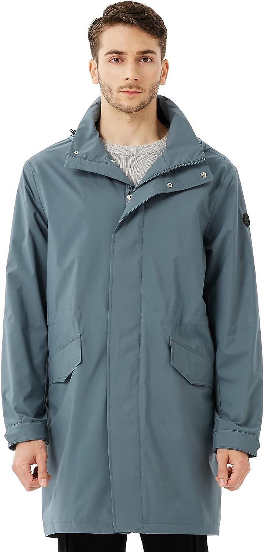 OFF THE DOOR Mens Light Weight Hooded Long Trench Coat Active Outdoor Anorak Rain Coat