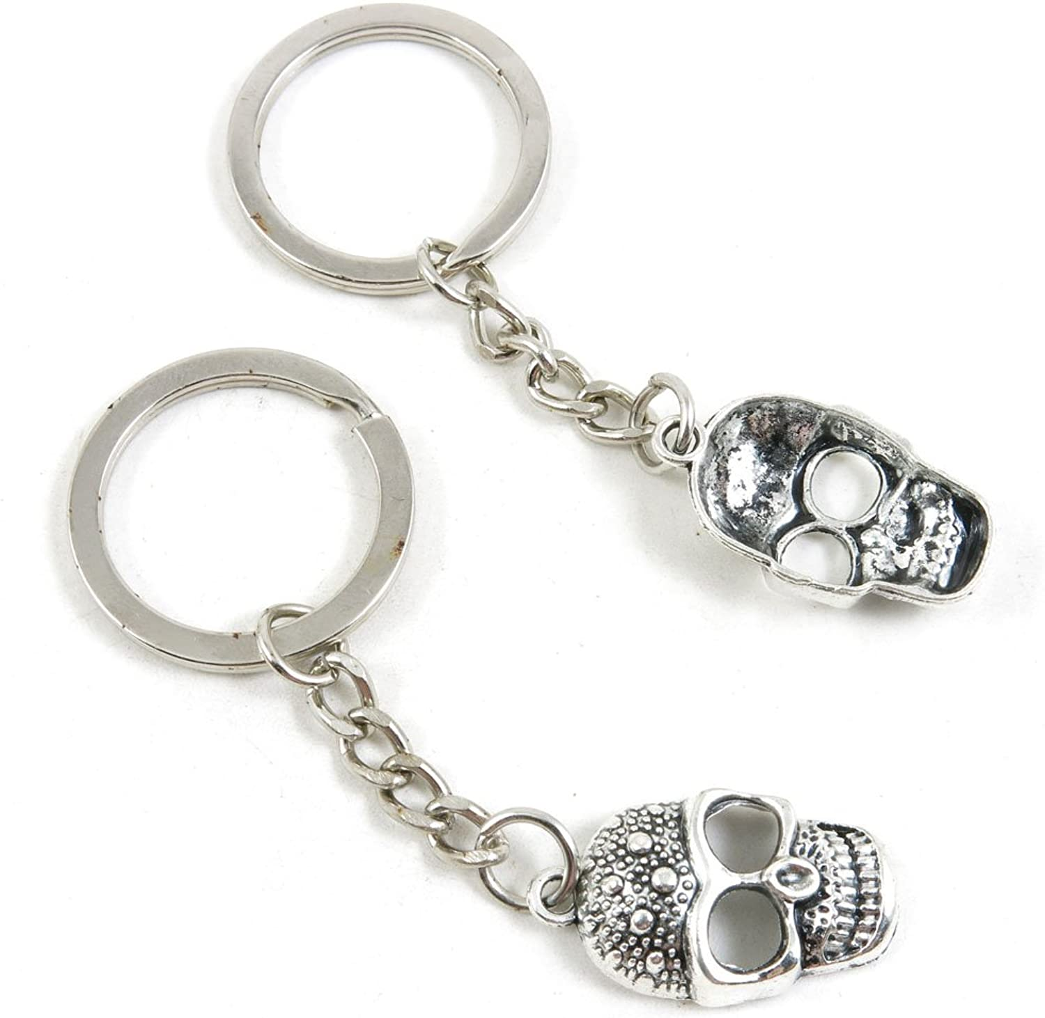 100 Pieces Keychain Keyring Door Car Key Chain Ring Tag Charms Bulk Supply Jewelry Making Clasp Findings S3GD7F Skull